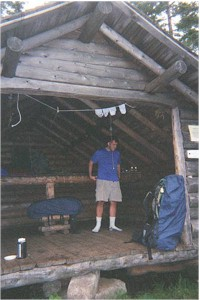 Rob getting ready at Gentian Pond Shelter